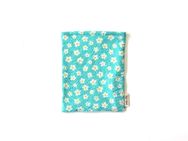 ハリネズミ用寝袋 S(夏用) 綿リップル×スムースニット フラワー ブルー