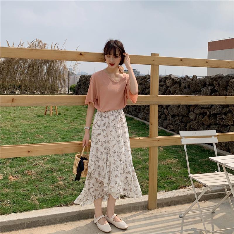 【送料無料】シフォン 花柄 ロングフレアスカート B19041601