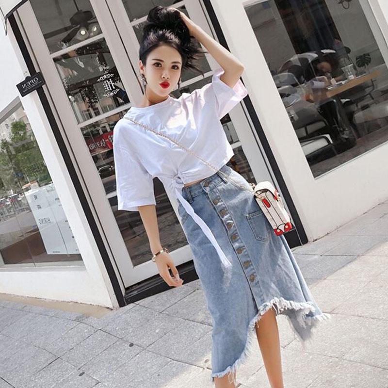 【set】無地シンプル人気Tシャツ+スカートセットアップ27136620
