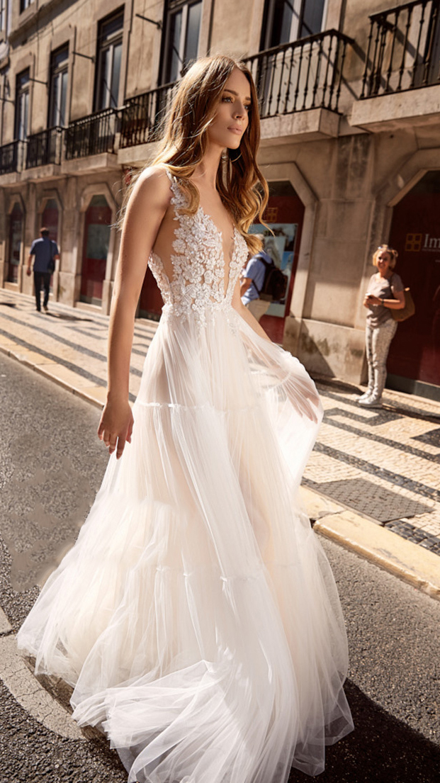 【DearWhite】ウェディングドレス Aライン プリンセス エンパイア デコルテ 結婚式 披露宴 二次会 パーティーウェディングドレス・カラードレス・サイズオーダー格安オーダーメイド DW00035