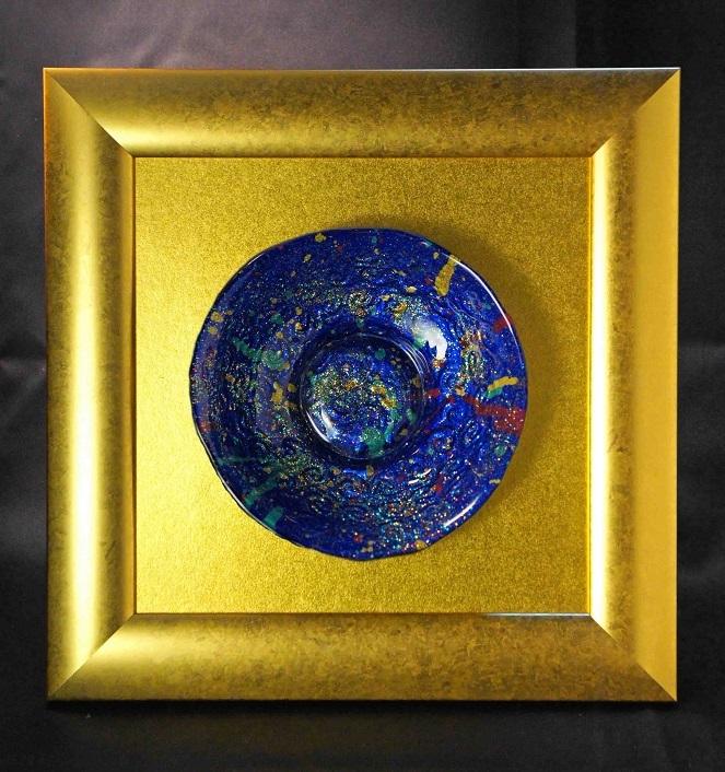 深甚婆娑羅ドローイングによる硝子額装作品「私の中のビッグバン」(ブルー)2-2-C