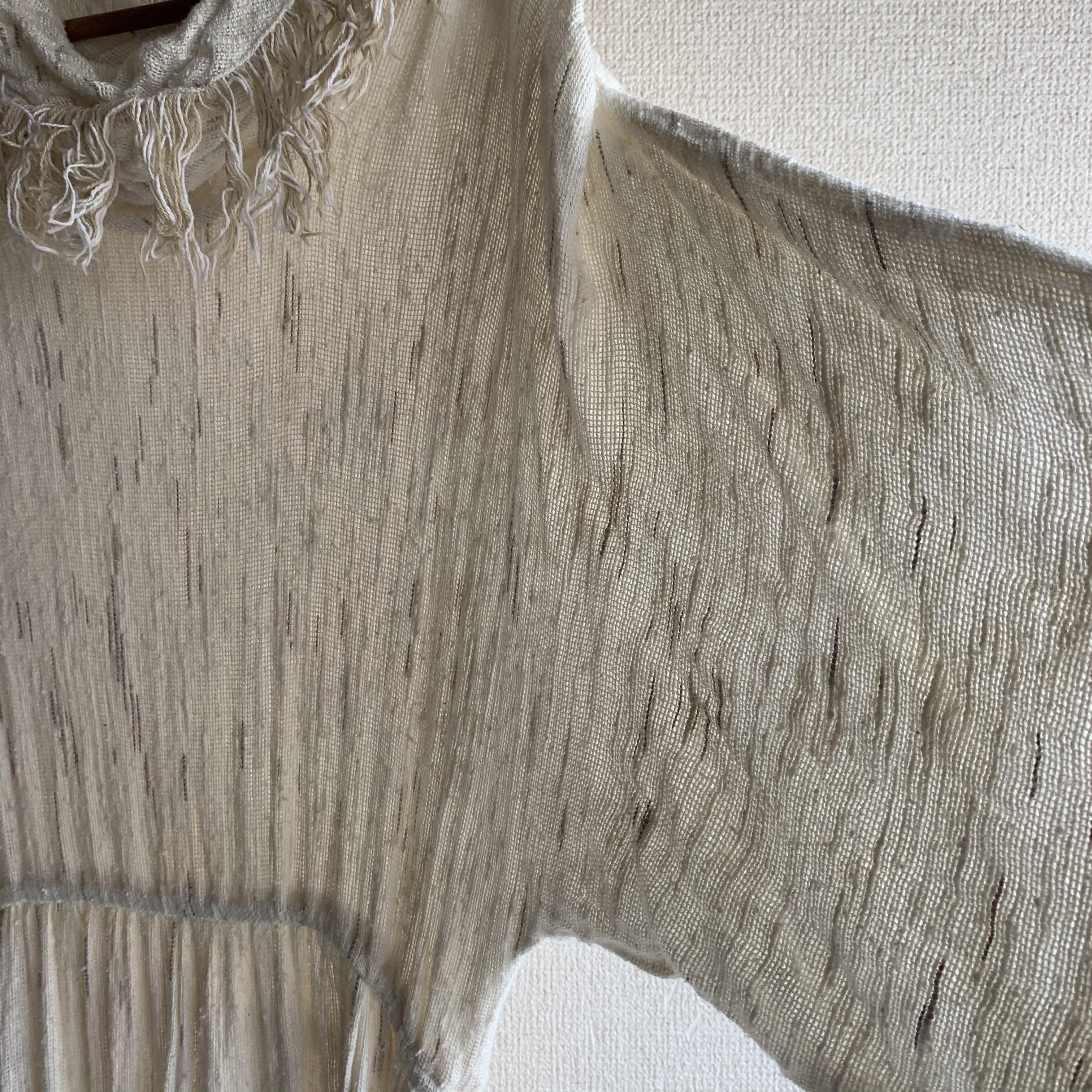【SALE】vintage 70s dolman gauze fringe onepiece
