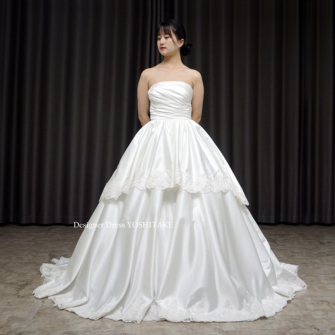 【オーダー制作】ウエディングドレス(無料パニエ) 上質な白サテンを使用したAライン挙式トレーンありドレス(パニエ付)ウエディング※制作期間3週間から6週間