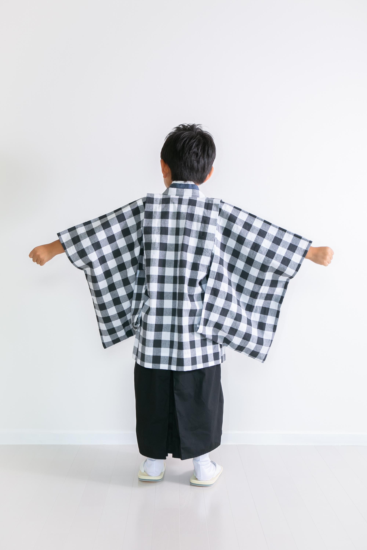 5歳男子 チェック  羽織袴7点セット