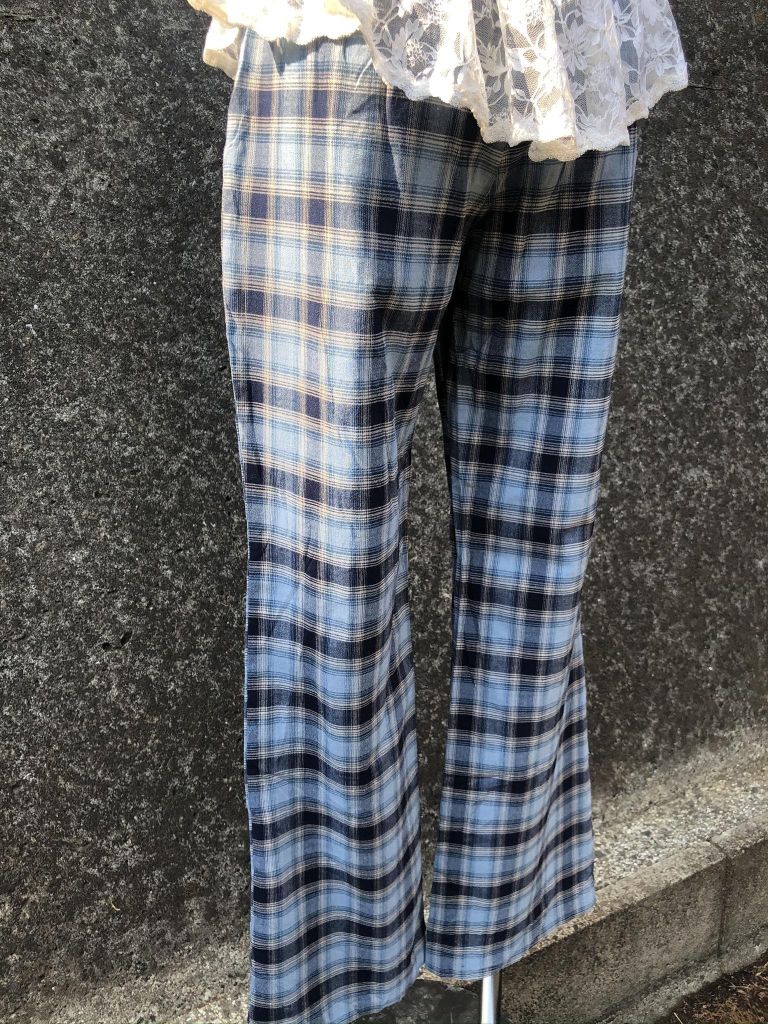 check pattern blue cotton pants