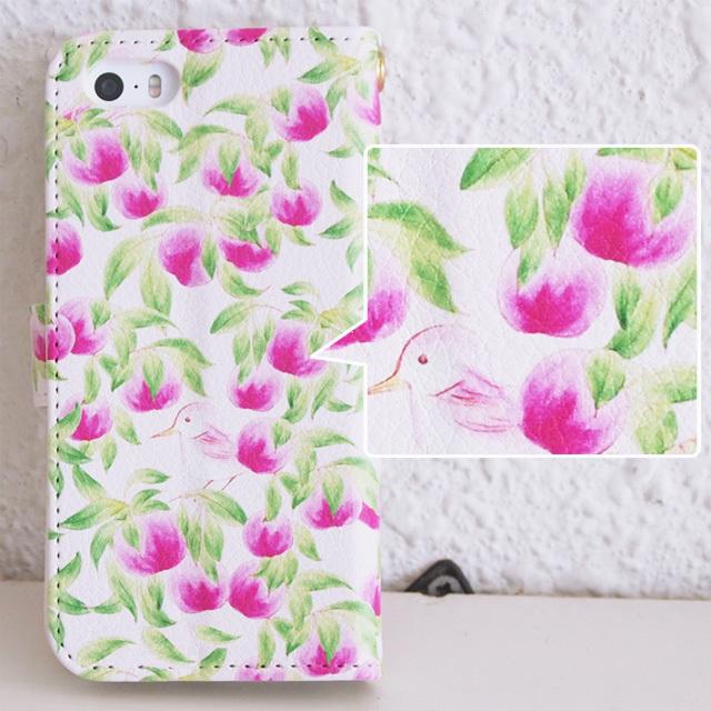 手帳型スマホケース【Clear Peach!(桃と鳥のパターン)】iPhone&Android