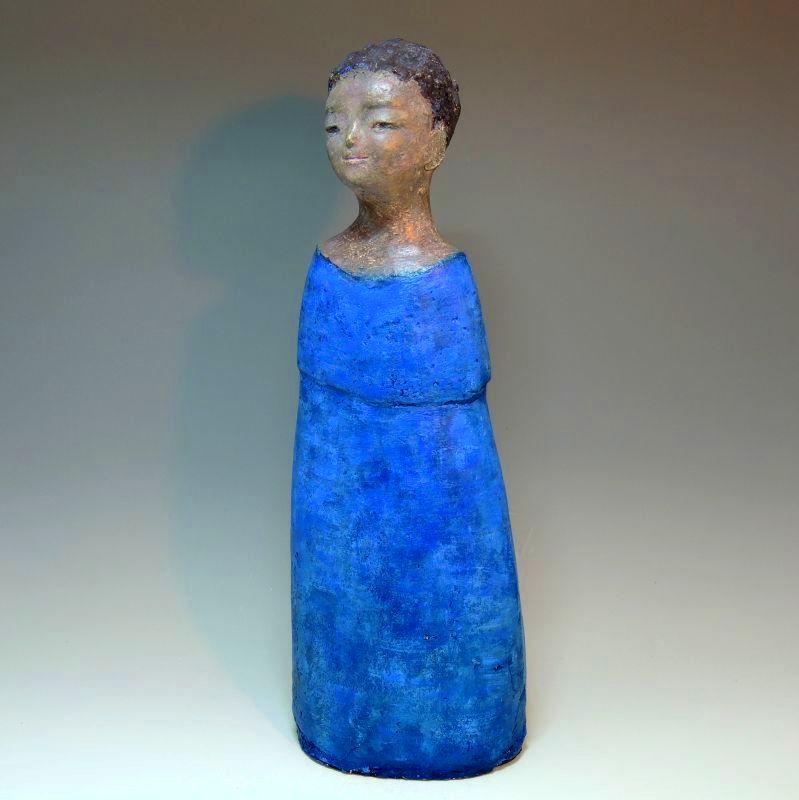 陶器の絵付け女性像(船越保氏作) F31