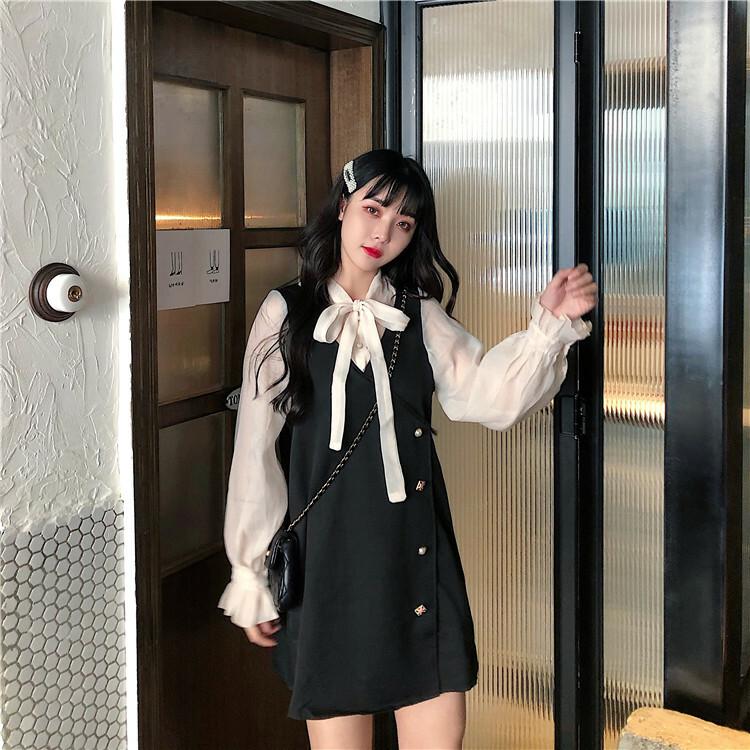 【送料無料】ガーリー コーデ ♡ 重ね着風 ボウタイ リボン ブラウス ジャンパースカート キャンディースリーブ ワンピース
