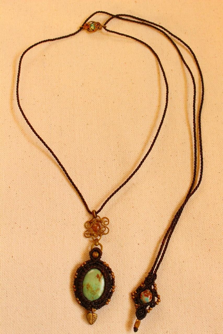 Tibetan Turquoise brasswire macrame pendant