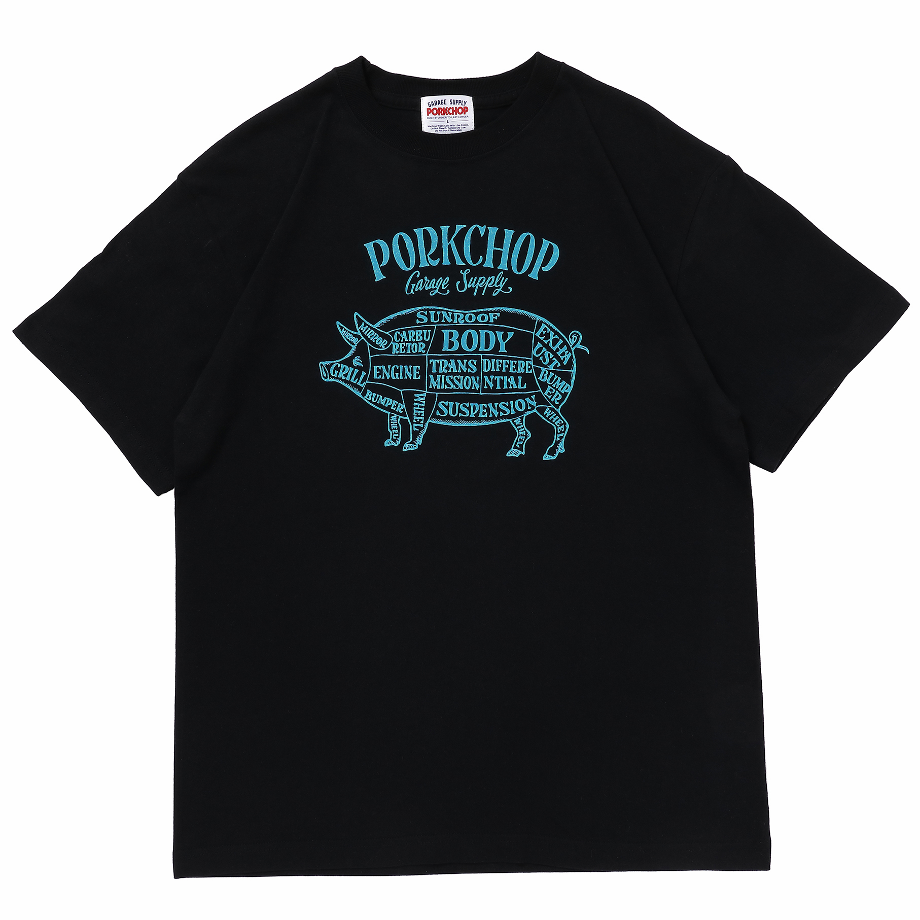 PORK FRONT S/S TEE/BLACK×LIGHT BLUE