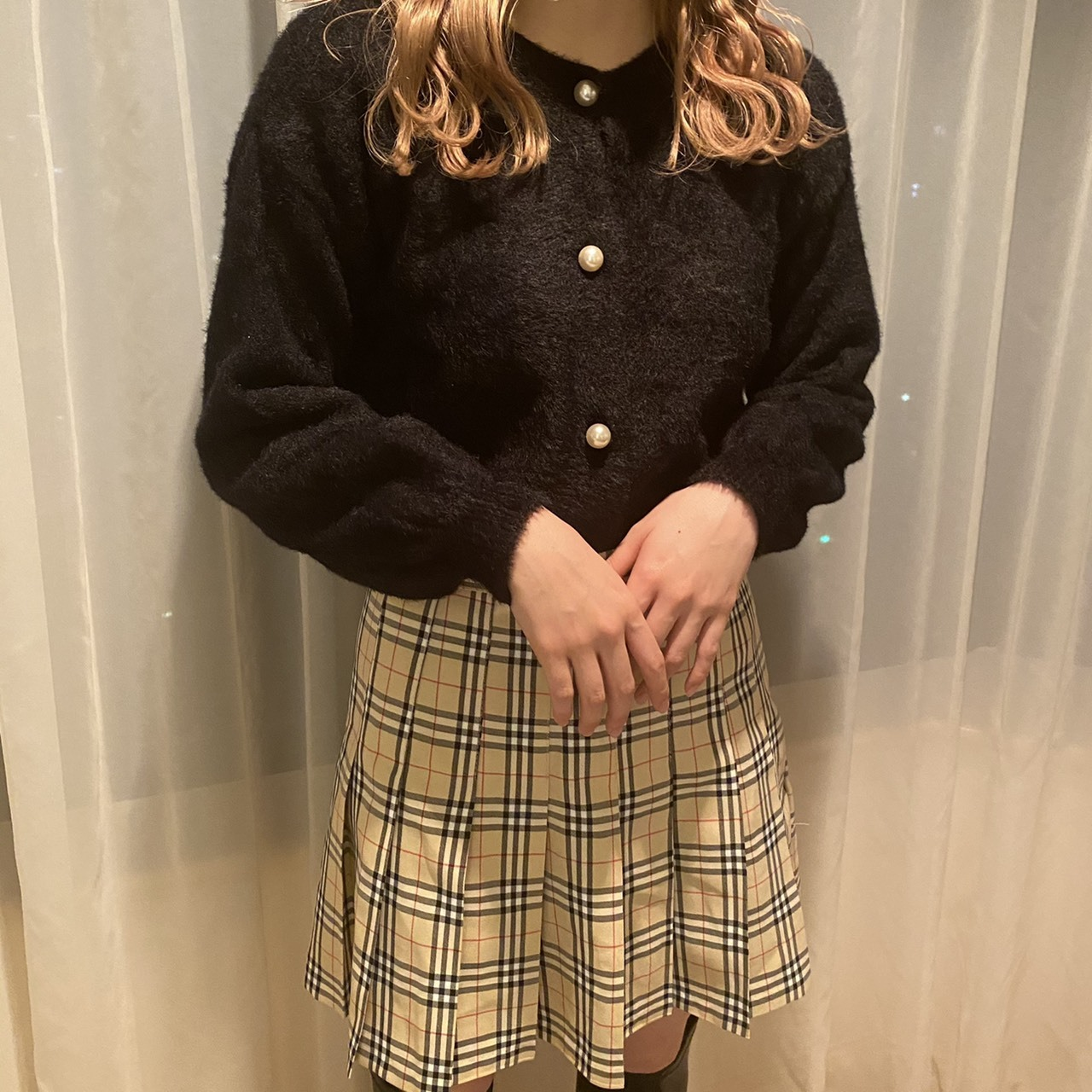 London check mini skirt