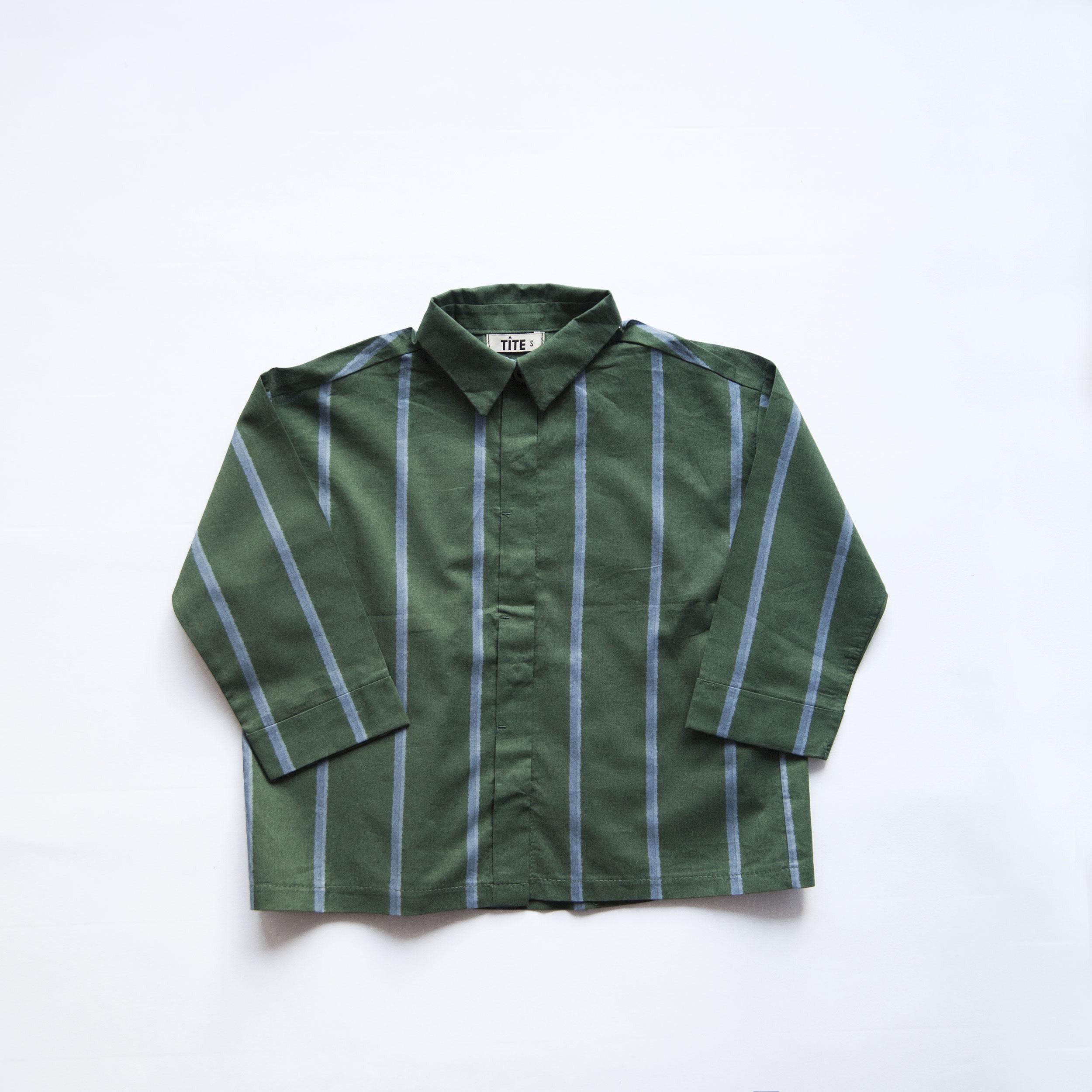 TÎTE ストライプシャツ(グリーン)