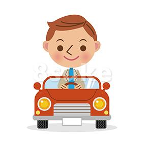 イラスト素材:車に乗った笑顔の男性/デフォルメ(ベクター・JPG)