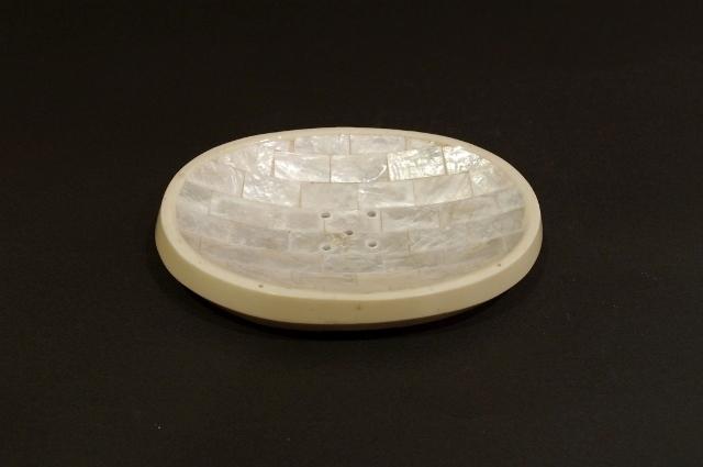 ソープディッシュ シェル×プラスチック楕円形(ホワイト)