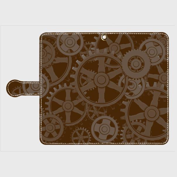 歯車スチームパンク(黒茶)/Androidスマホケース(手帳型ケース)