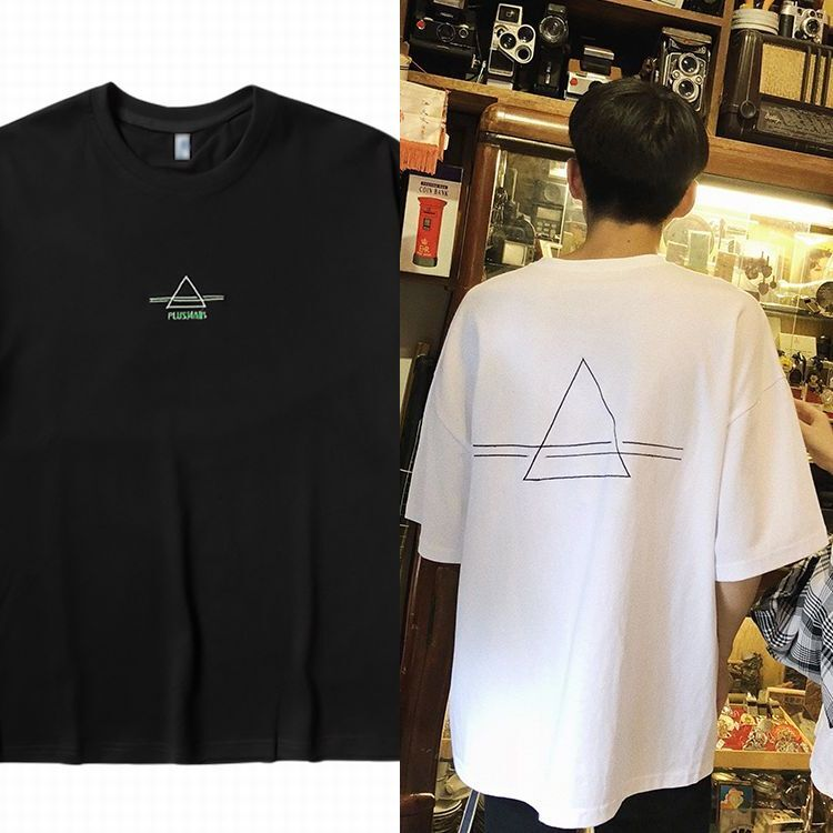 ユニセックス Tシャツ 半袖 メンズ レディース シンプル 刺繍 トライアングル オーバーサイズ 大きいサイズ ルーズ ストリート