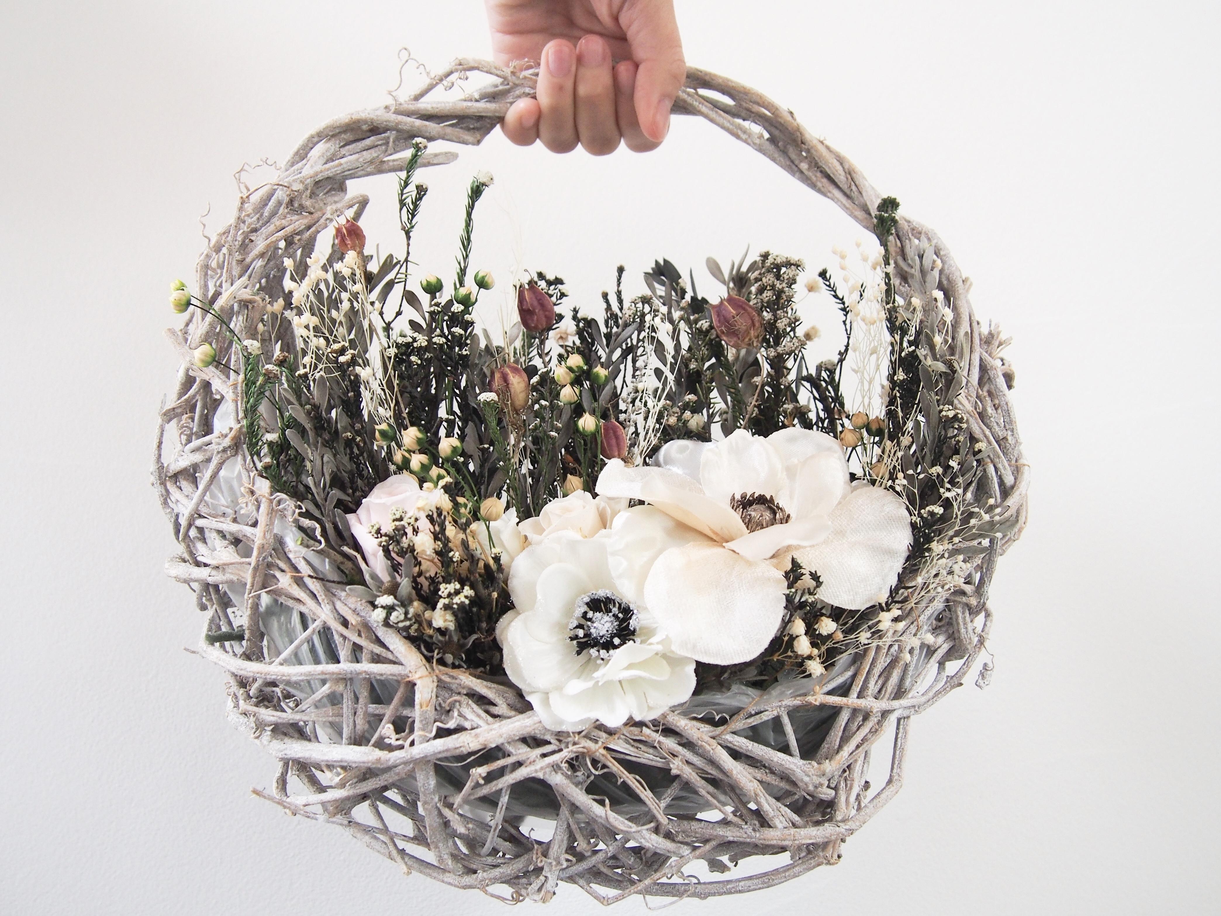 新作 ▶︎ 煌めき アネモネの 花摘み バスケット アレンジ リース ブーケ
