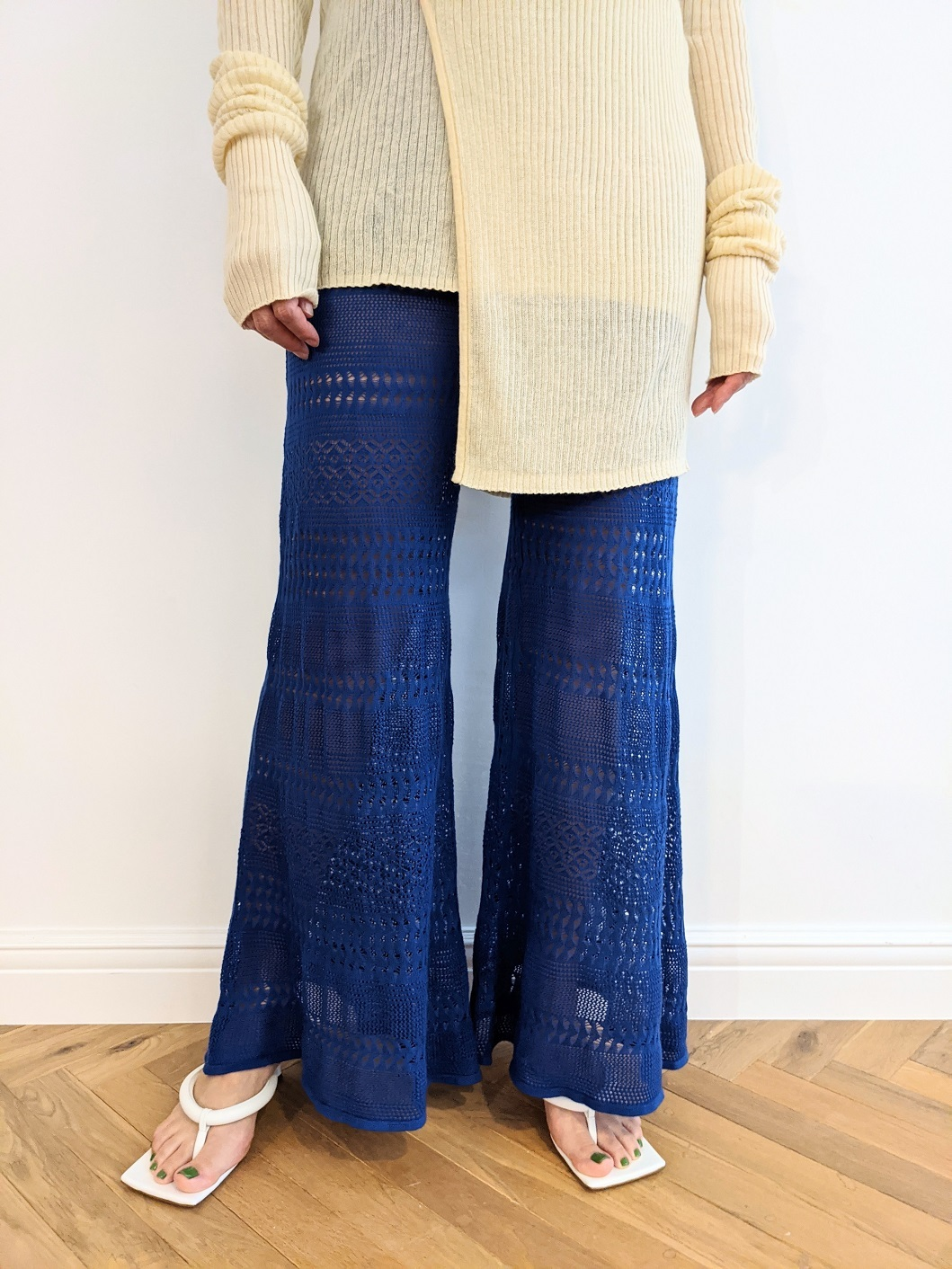 Lace Bell Bottoms - BLUE