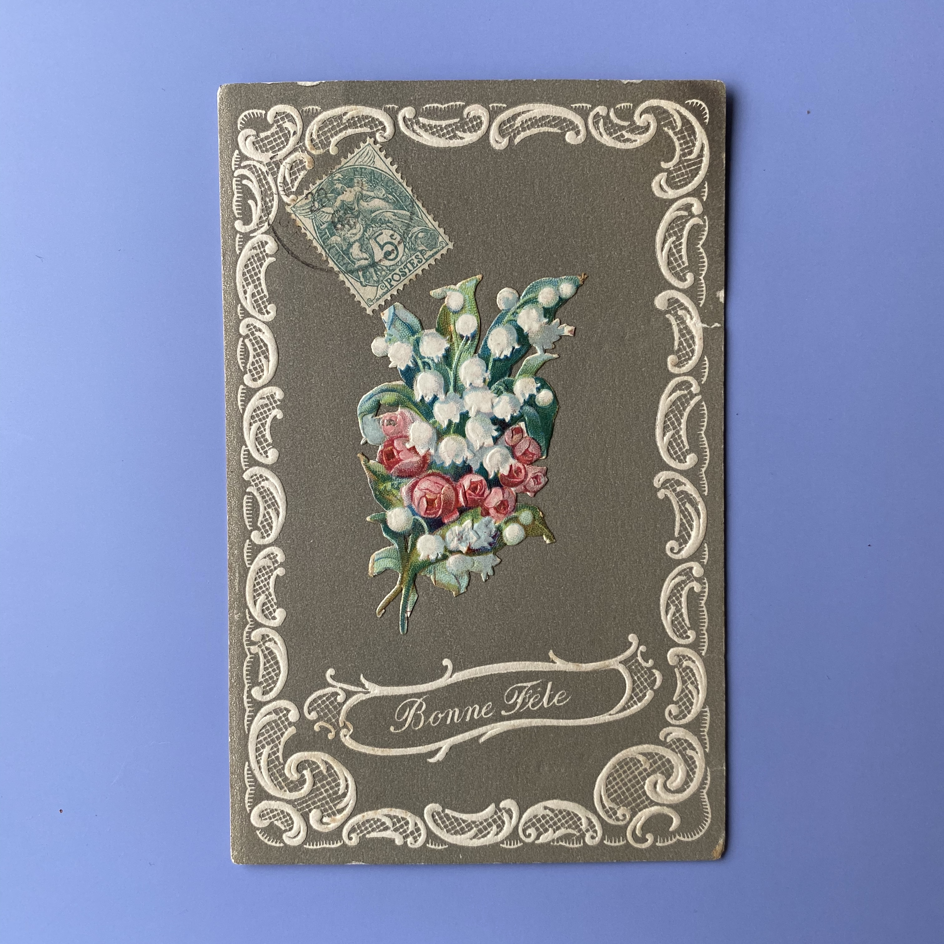 アンティーク鈴蘭ポストカード・e /  vp0039