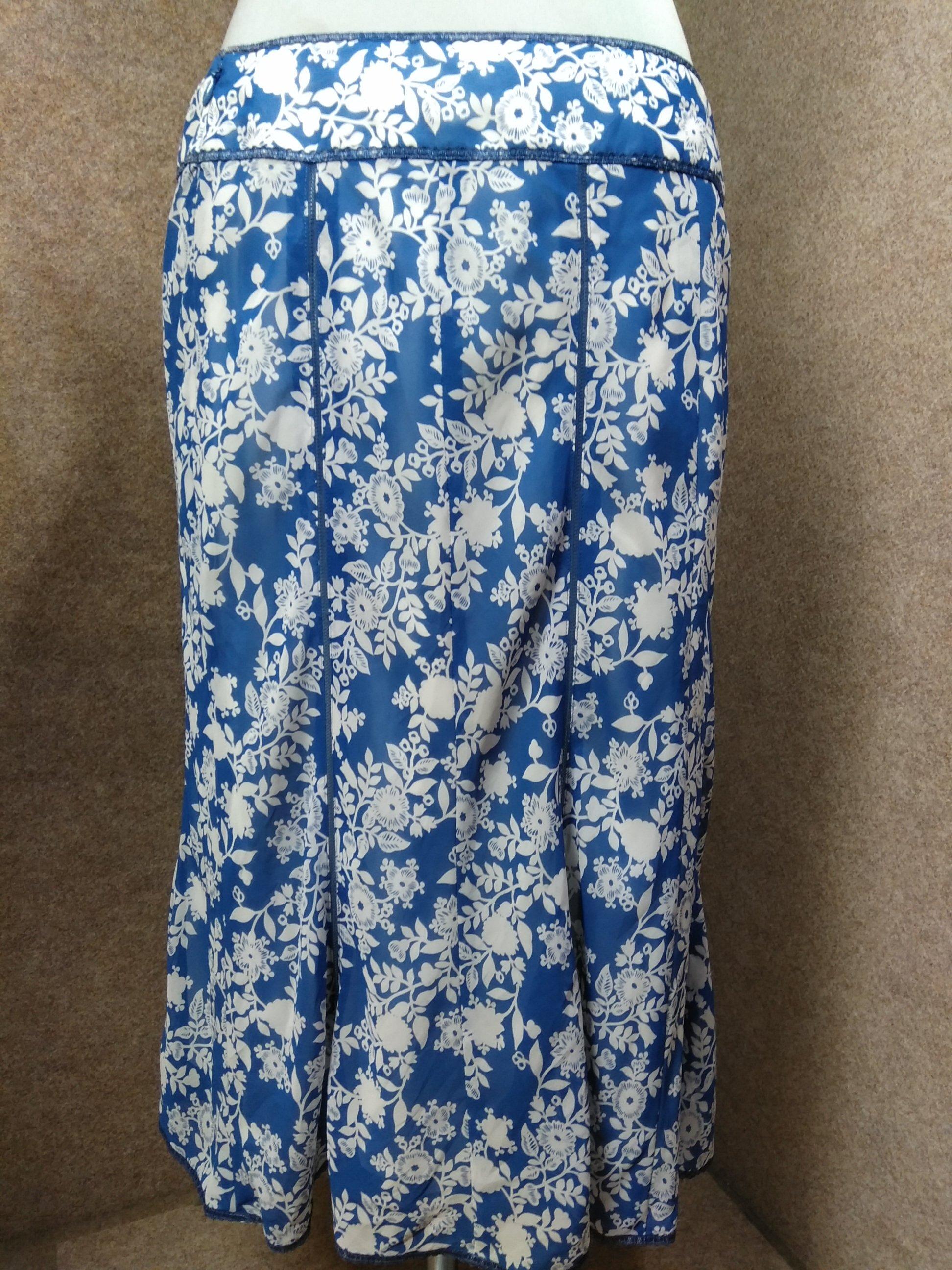 自由区 花柄 スカート 44 大きいサイズ ブルー系 オーガンジー mu764e