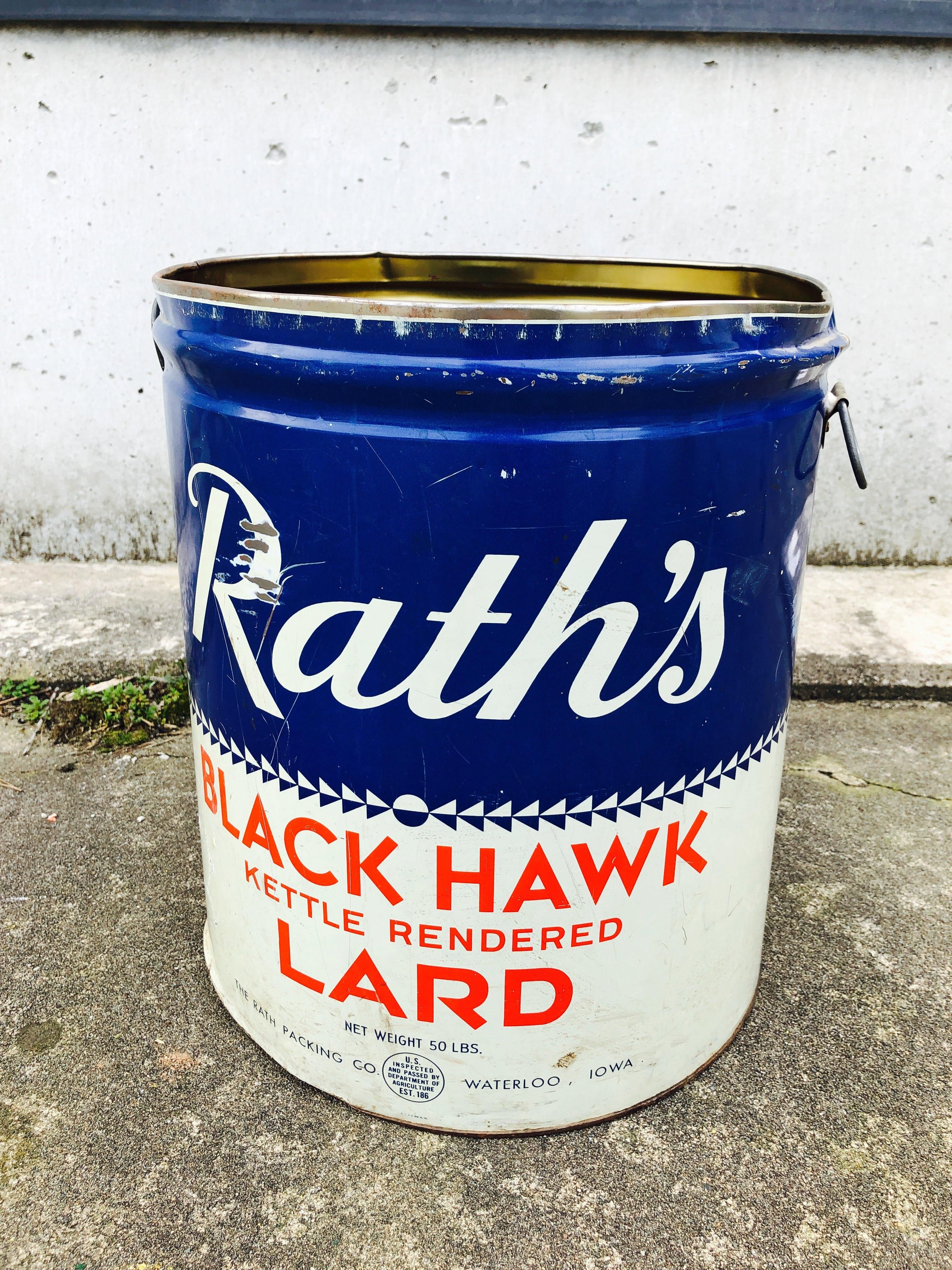 品番5599 ヴィンテージ缶 Rath's BLACK HAWK KETTLE RENDERED LARD インテリア ディスプレイ