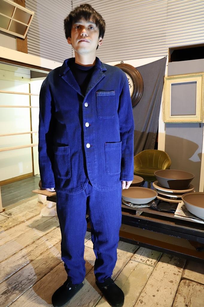藍染刺織備後織物メンズパンツ(受注生産)PTK 50