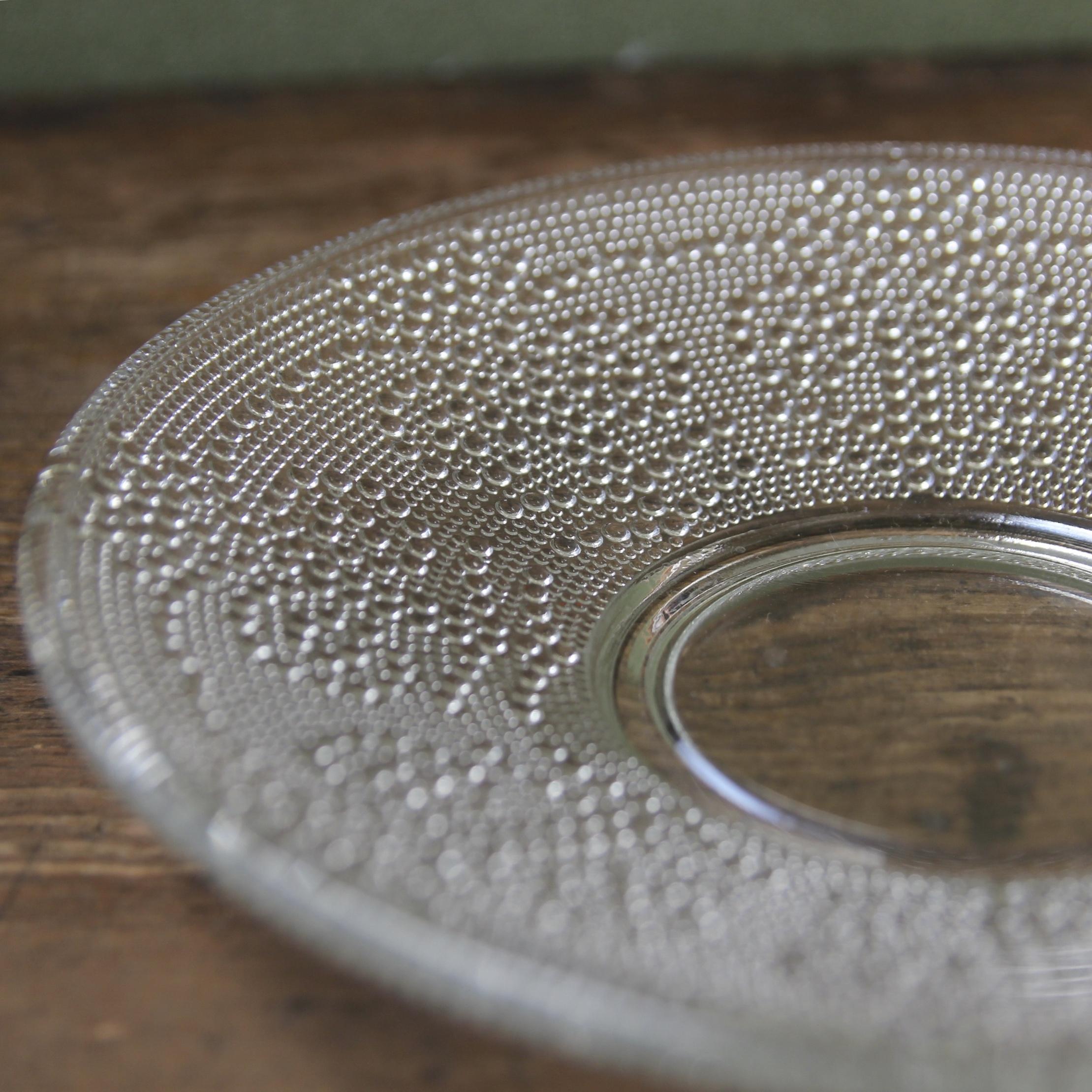 水玉ドットのガラス皿 大 在庫1枚