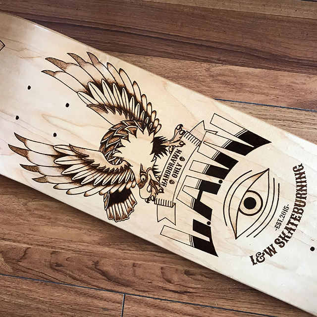Burning skateboard shakehands,eagle&mexicanskull
