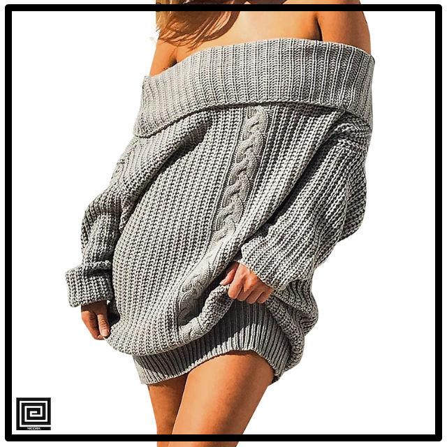 トリコットオフショルダーセータードレス