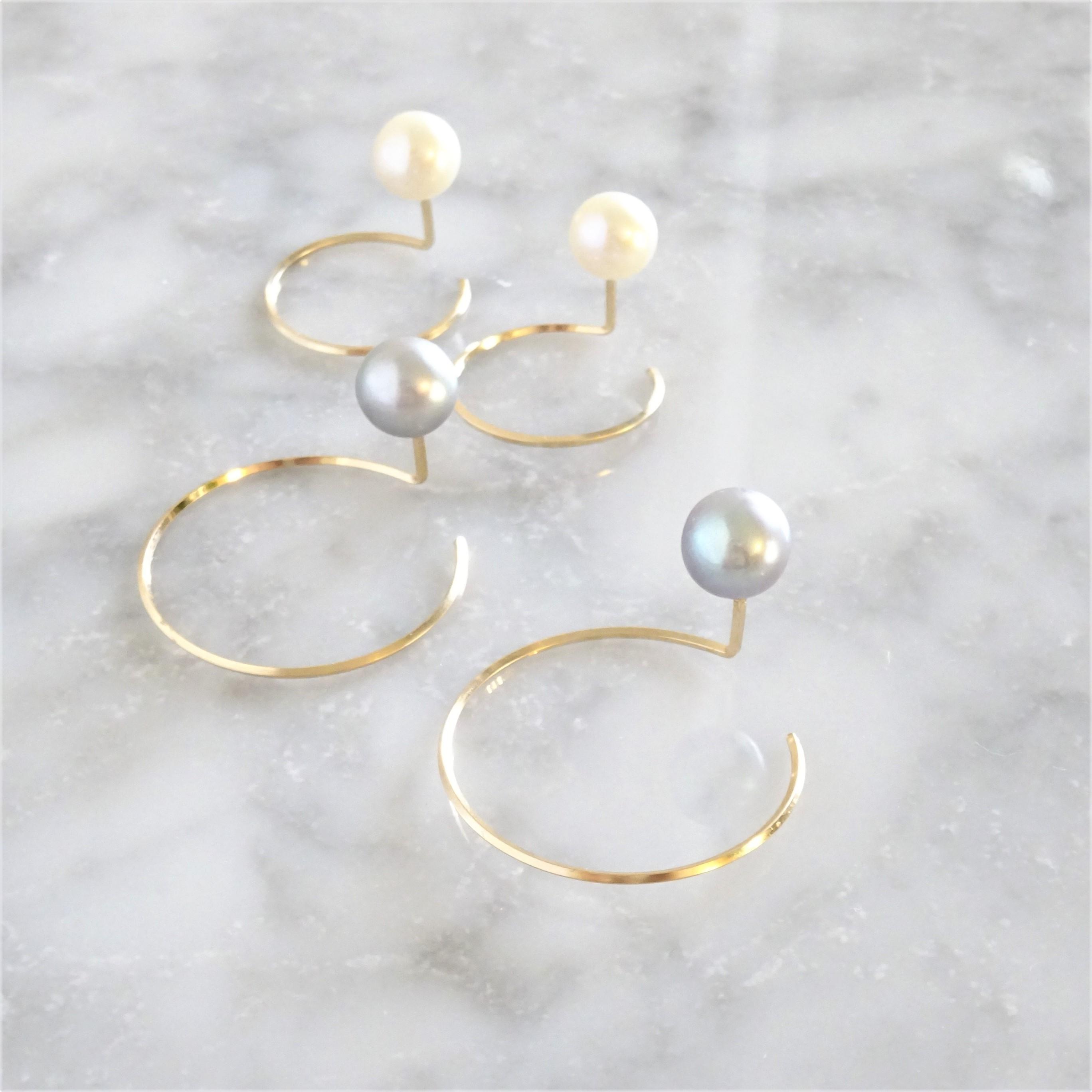 送料無料14kgf*Freshwater pearl CIRCLE pierced earring L パール