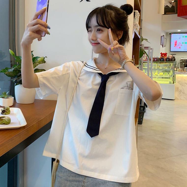 【送料無料】 夏っぽマリンコーデに♡ セーラー襟 プルオーバー トップス シャツ 半袖 ネクタイ付き