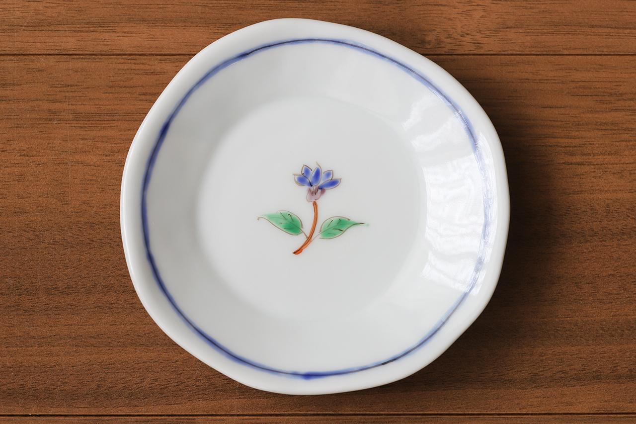 藍水 一つ花リンドウ 豆皿 うつわ藍水 波佐見焼