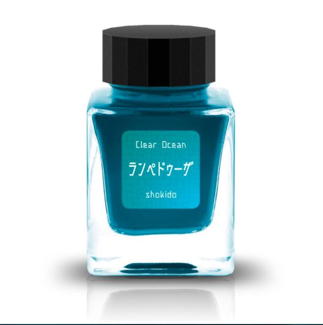 オリジナルインク「Clear Ocean ランペドゥーザ」(ラメ入り)