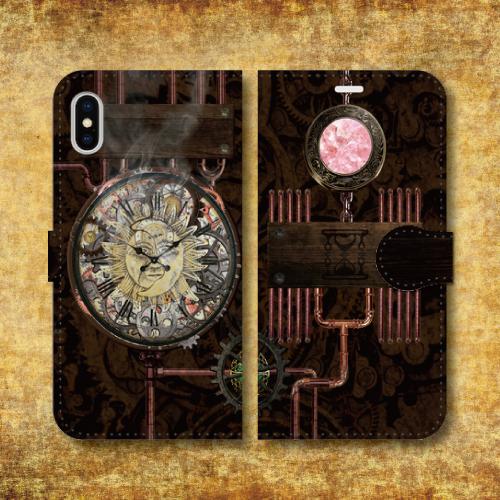 スチームパンク調/タイムマシン/機械/時計/歯車 レトロ/ピンク/iPhoneスマホケース(手帳型ケース)