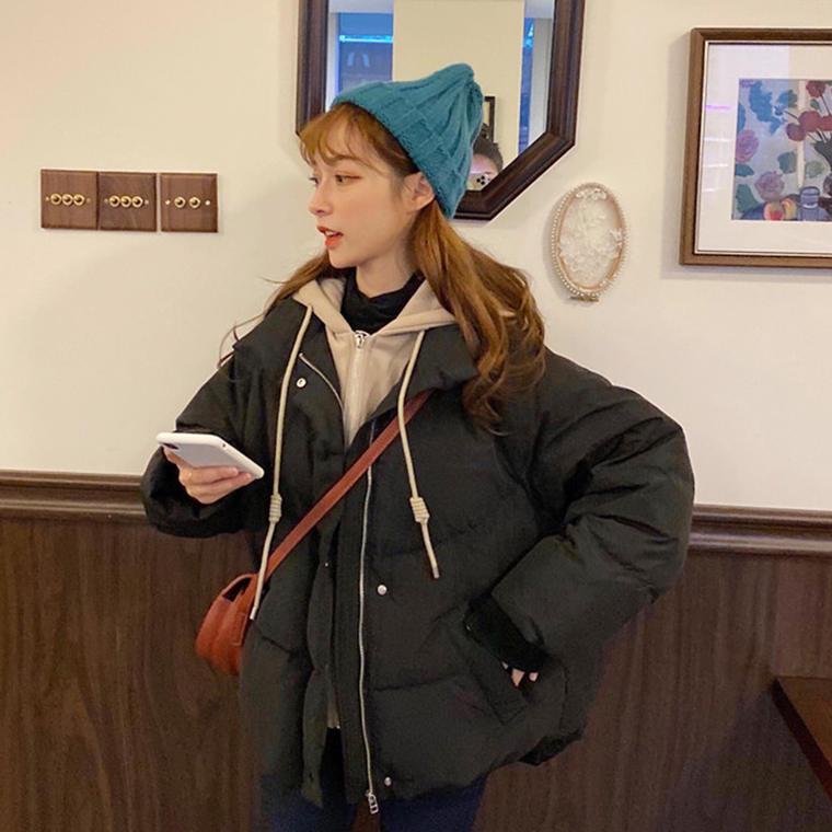 【送料無料】 1枚でおしゃれ見え♡ フェイクレイヤード 重ね着風 フード付き ダウンジャケット コート アウター