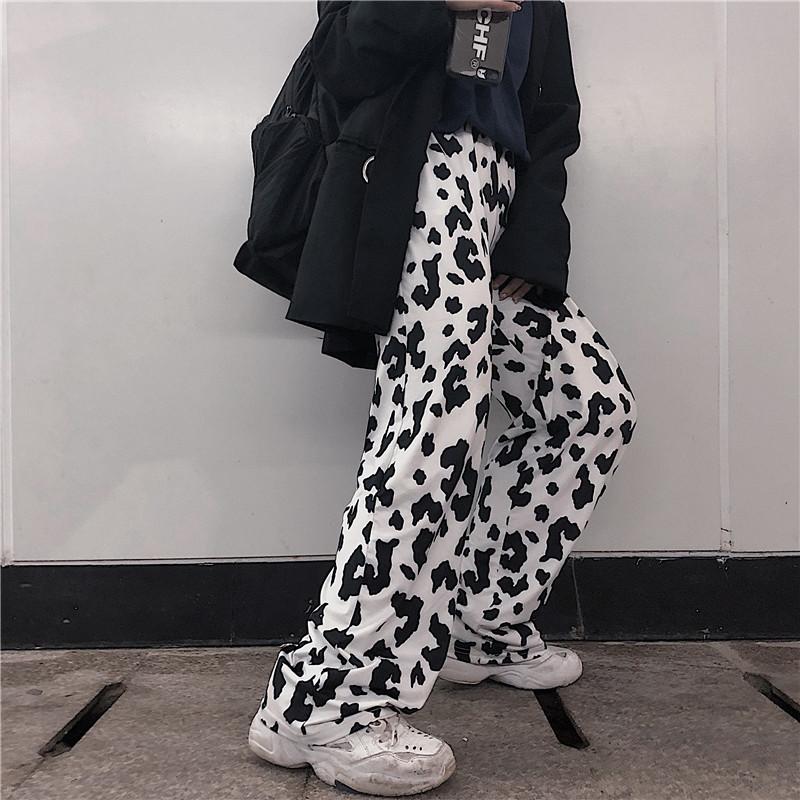 【bottoms】原宿風配色ハイウエストカジュアルパンツ22286021