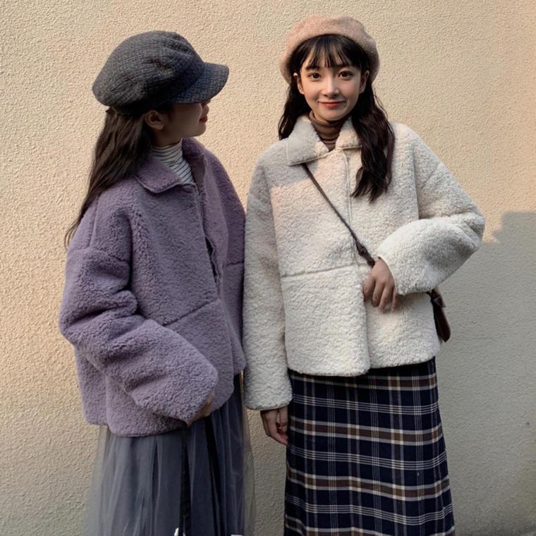 【送料無料】大人フェミニン ♡ もこもこ ガーリー 襟付き ボア ジャケット コート アウター