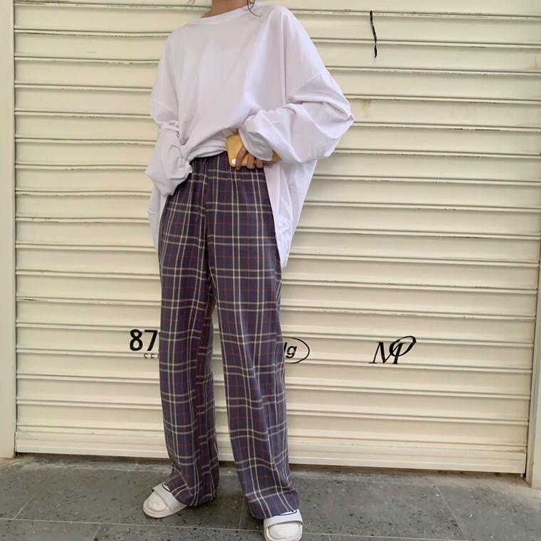【送料無料】 ゆる×ゆるコーデ♡ ホワイト Tシャツ 長袖 ロンT チェック ボーイフレンド パンツ ウエストゴム 2点セット