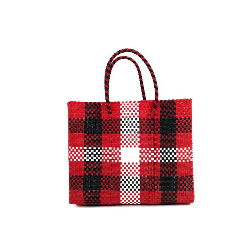 MERCADO BAG 3CHECK - Red x White x Black(XS)