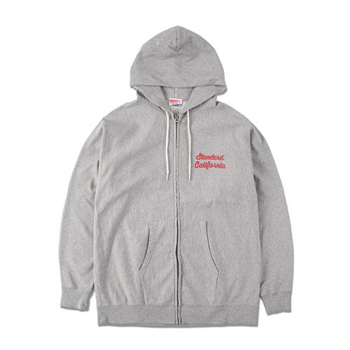 STANDARD CALIFORNIA #SD US Cotton Zip Hood Script Logo Sweat Shirt Gray