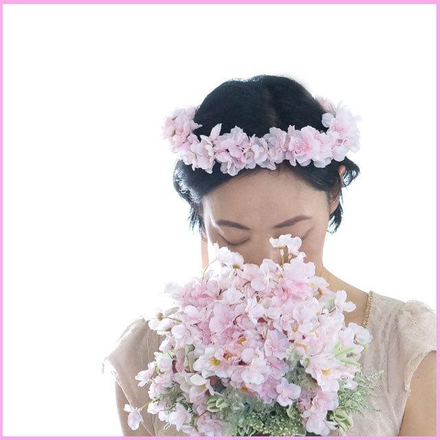【3点セット】さくらピンク  ラウンドブーケ+ブトニア+花冠