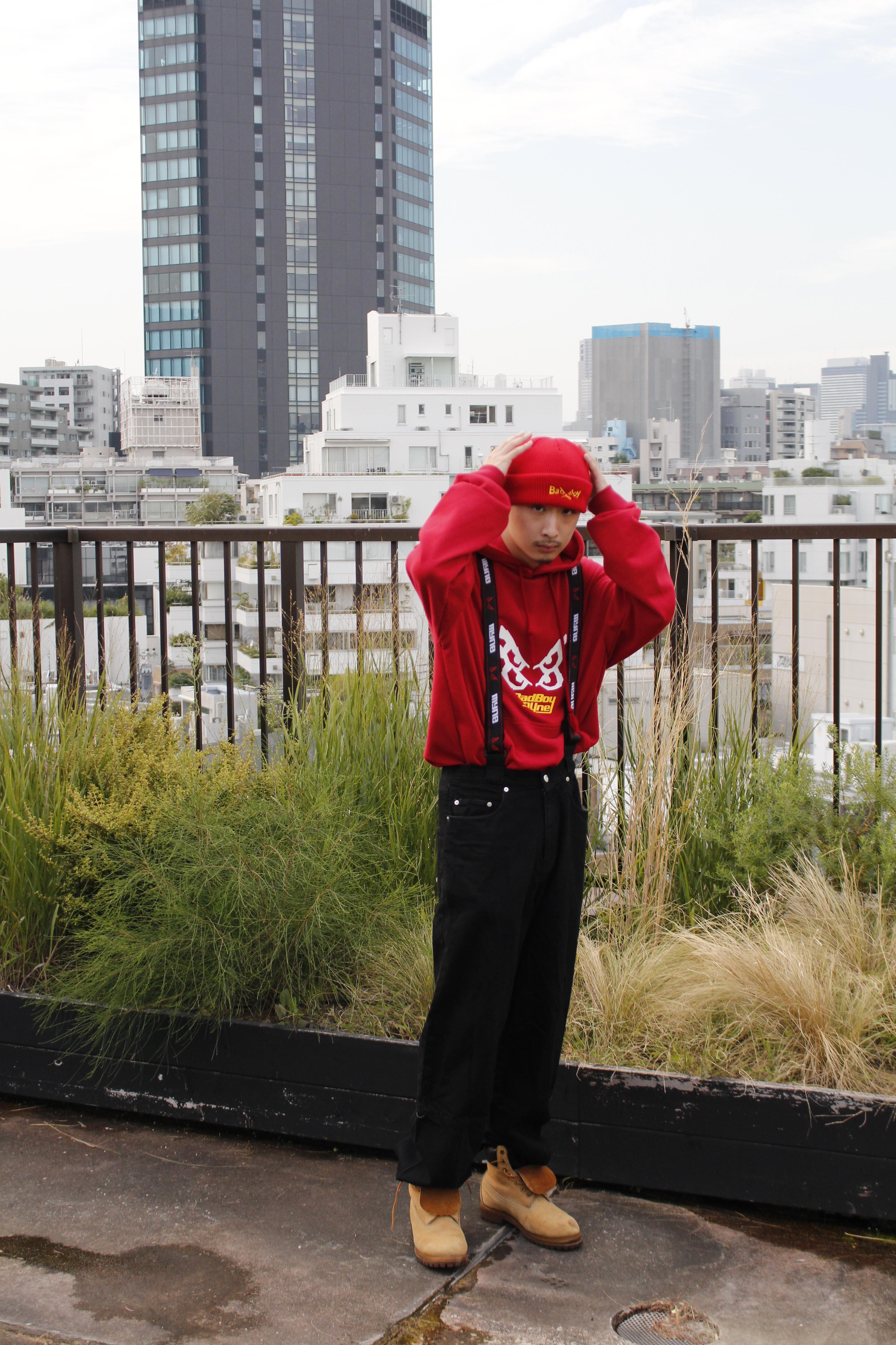 【10%OFF】MYne × BADBOY hoodie / RED - 画像3