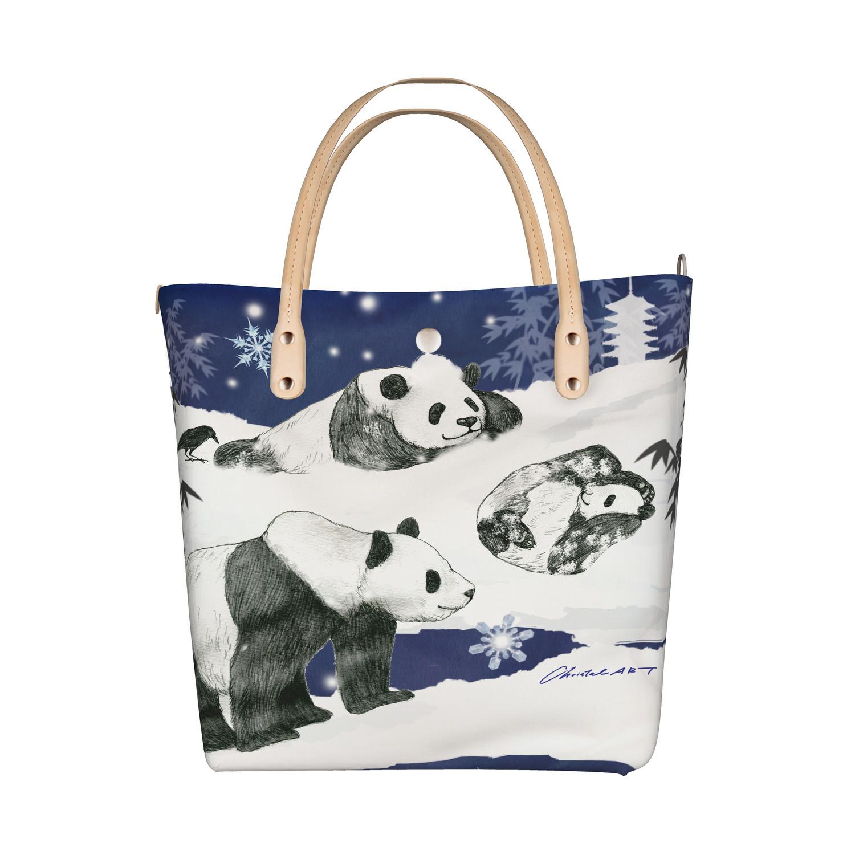 ◆受注生産◆新柄 デザイントートバッグ「SNOWY PANDA」柄