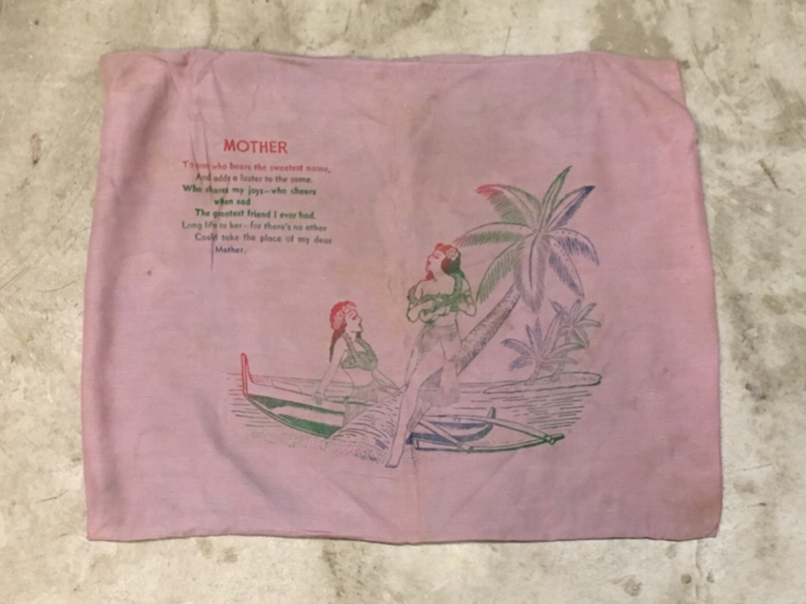 "1950〜60's HULA GIRL PILLOW CASE ""TO MOTHER"""