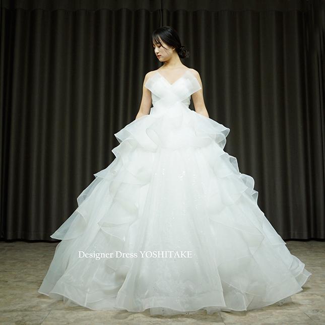 【オーダー制作】ウエディングドレス(無料パニエ) 変則Vバストラインオーガンジー素材ふんわりプリンセススカート(パニエ付)挙式※制作期間3週間から6週間