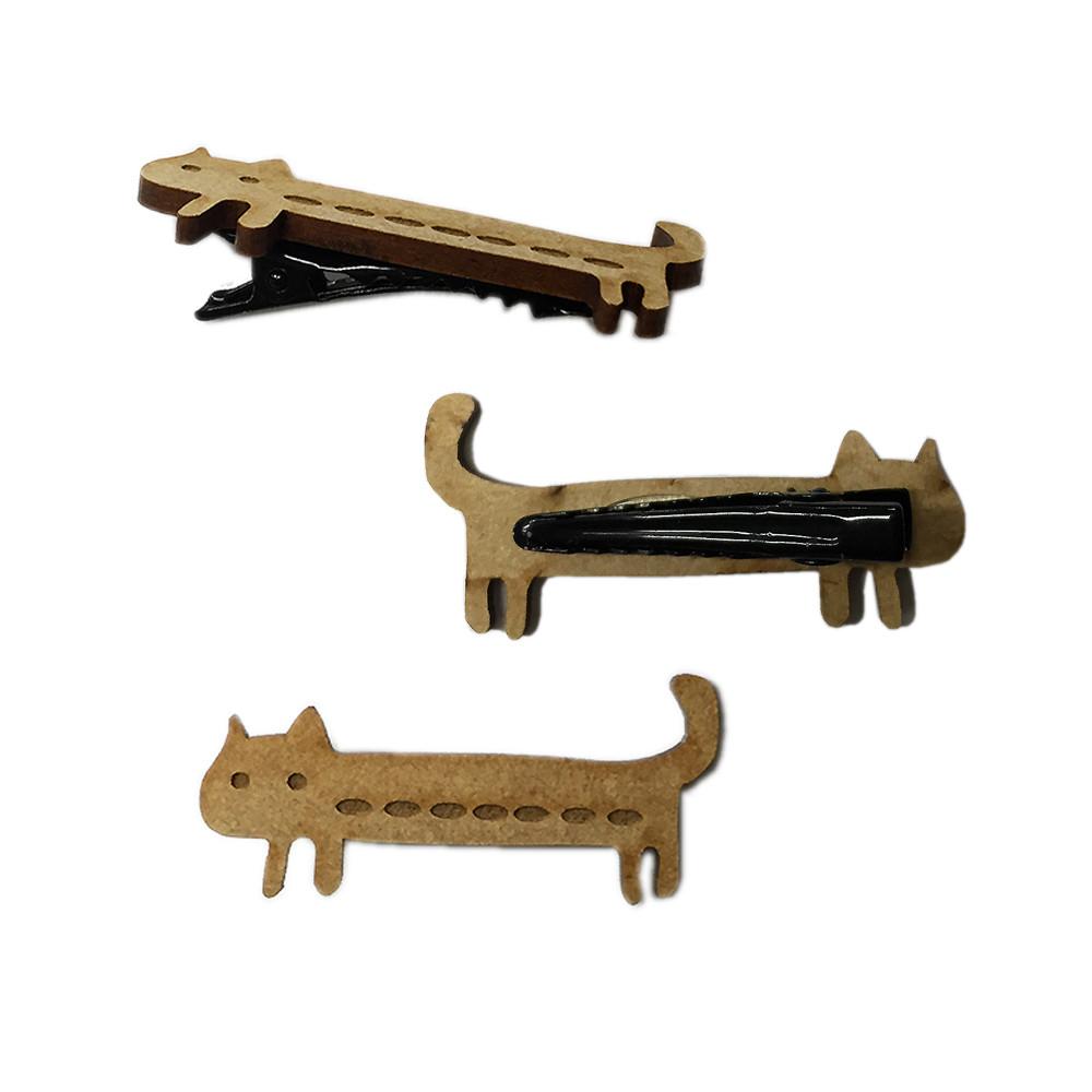 猫ヘアクリップ(木質ミニミニキャット)