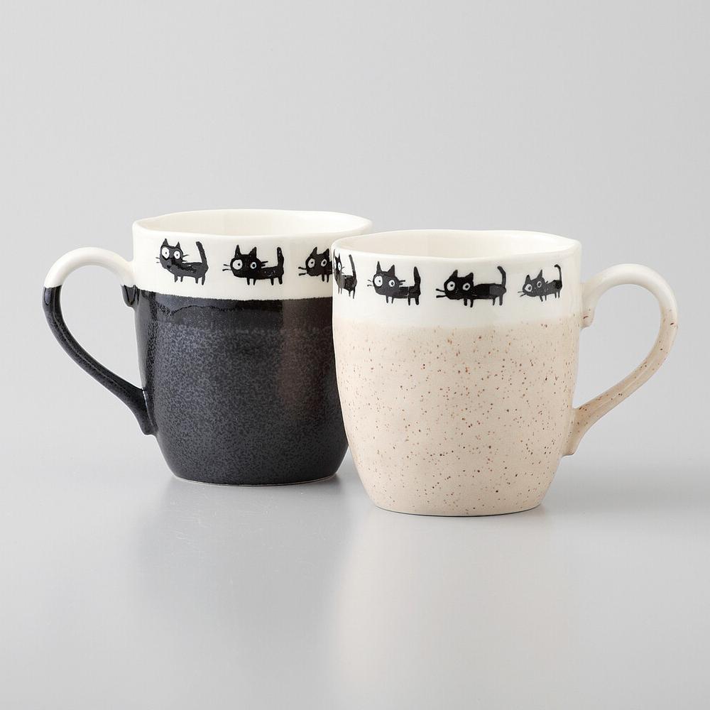 猫マグカップ(美濃焼黒ねこ)ペア