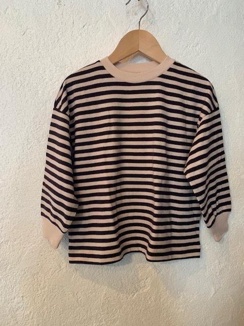 ocean&ground:ボーダーリブ付きルーズTシャツ 150,160㎝