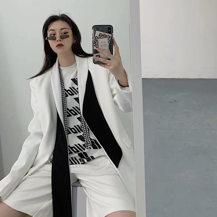 long collar monotone jacket