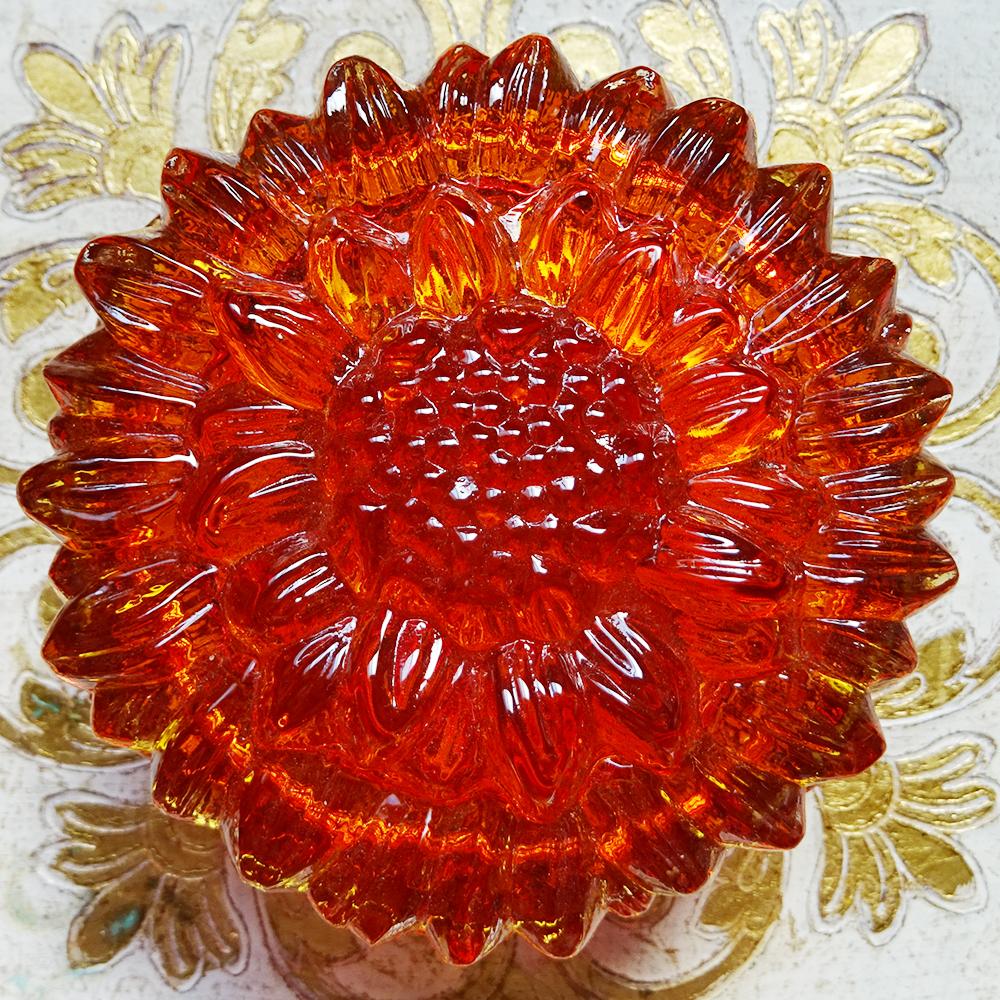 チェコスロバキア ボヘミアガラスのジュエリーポット ひまわり / クリアオレンジ